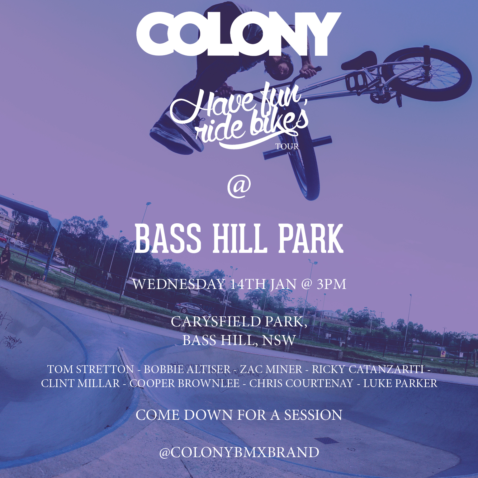 COLONY jan 2015 tour flyer bass hill