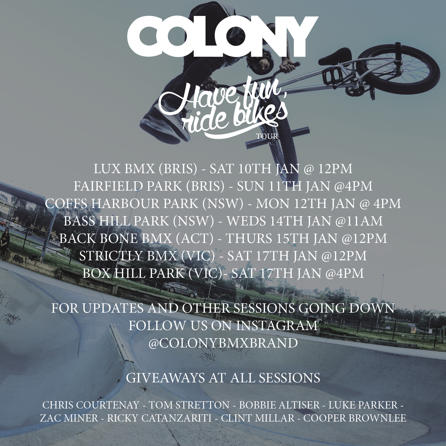 COLONY jan 2015 tour flyer